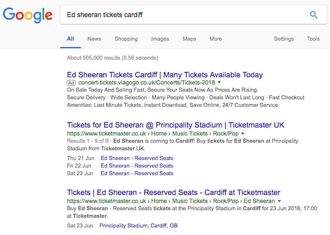 Online Ticket Touting - Google, We *Still* Have A Problem - FanFair
